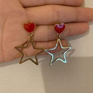 Cute star shaped earrings with red heart
